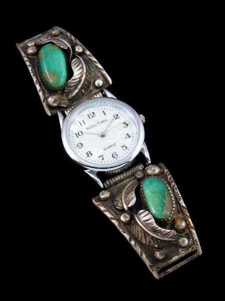 Estate Native American Jewelry Sterling Silver Turquoise Watch
