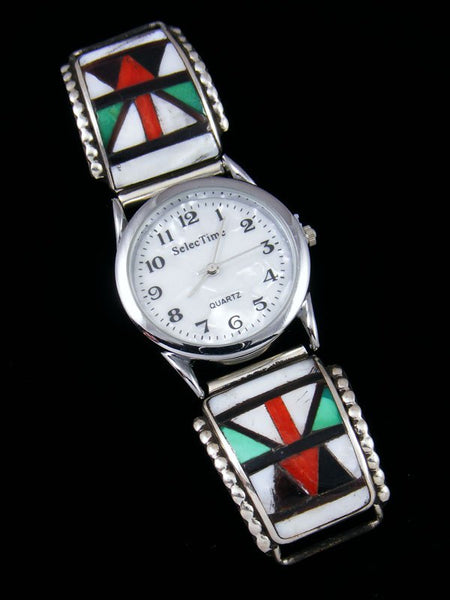 Vintage Native American Zuni Inlay Jewelry Watch