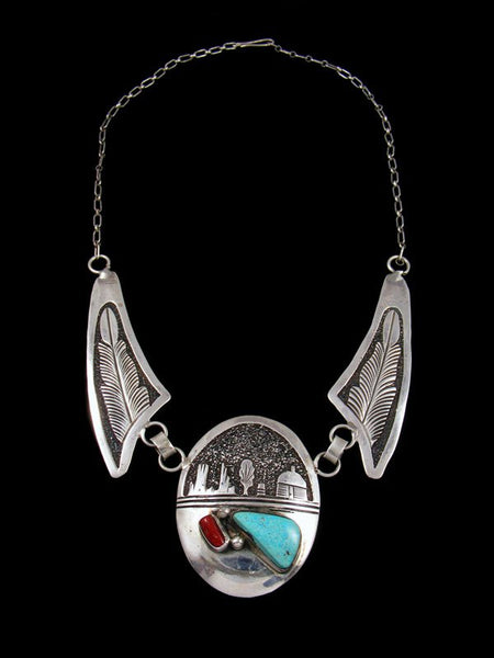 Estate Native American Jewelry Sterling Silver Storyteller Necklace