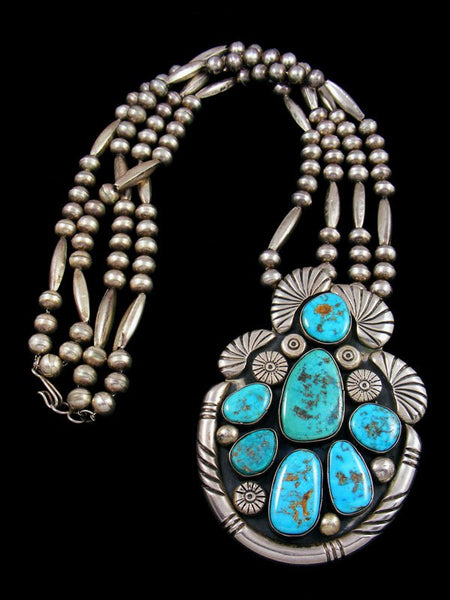 Vintage Large Sterling Silver Turquoise Beaded Necklace