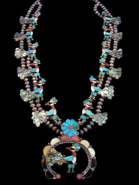 Old Sterling Silver Zuni Inlay Peacock Squash Blossom Necklace