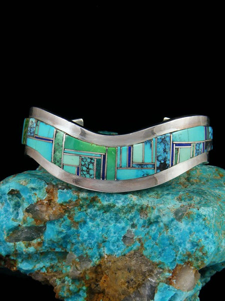 Vintage Native American Sterling Silver Turquoise Inlay Cuff Bracelet