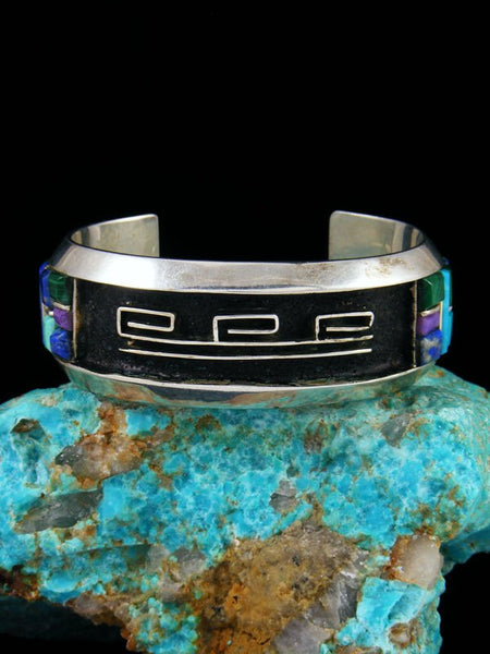 Vintage Native American Sterling Silver Inlay Cuff Bracelet