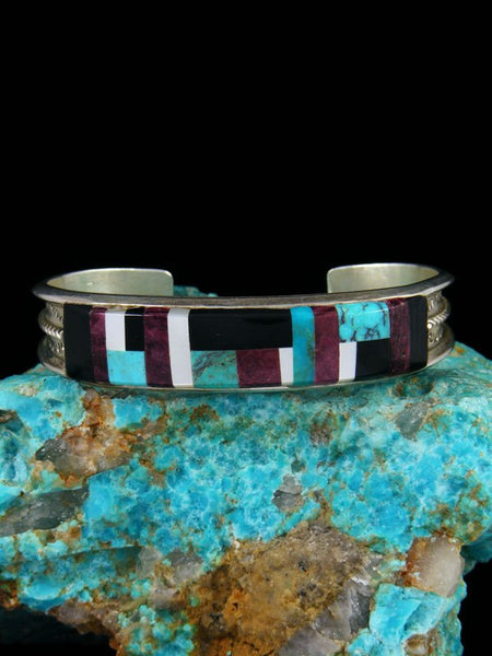 Estate Native American Sterling Silver Inlay Cuff Bracelet