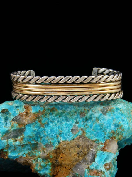 Estate Native American Gold and Sterling Silver Bracelet
