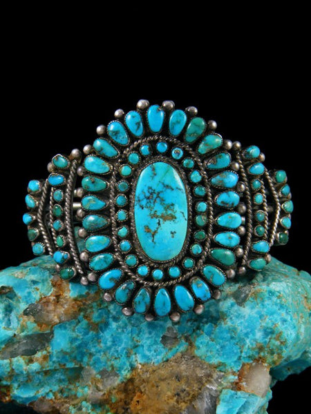 Old Native American Sterling Silver Turquoise Cuff Bracelet