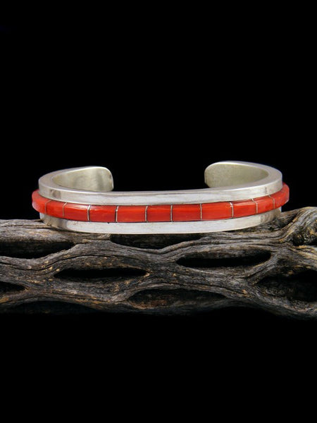 Vintage Native American Sterling Silver Coral Inlay Cuff Bracelet