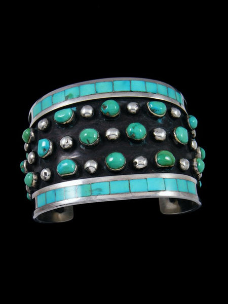 Estate Native American Sterling Silver Turquoise Inlay Bracelet