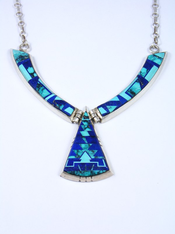 Vintage Inlay Turquoise and Lapis Collar Necklace
