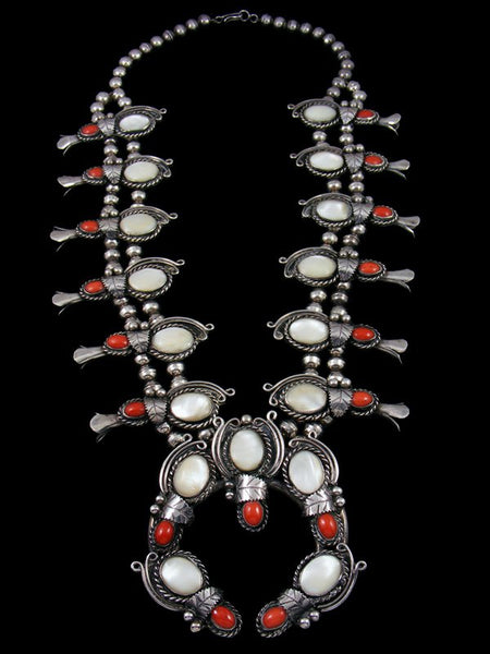 Estate Native American Mother of Pearl and Coral Squash Blossom Necklace