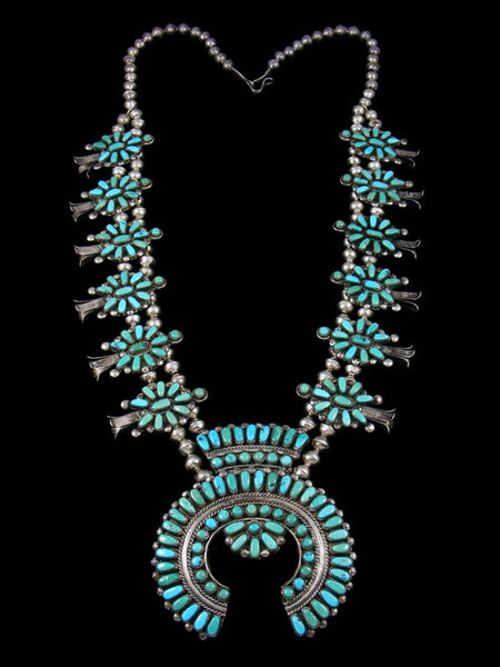 Old Pawn Zuni Petit Point Turquoise Sterling Silver Squash Blossom Necklace