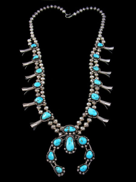 Vintage Native Natural Turquoise Squash Blossom Necklace