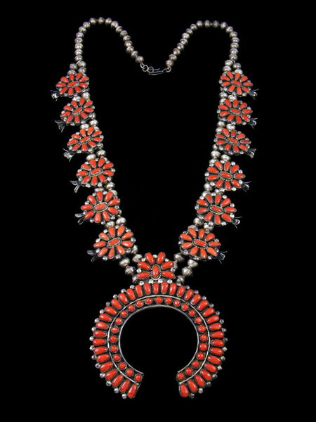 Old Pawn Estate Native American Natural Coral Squash Blossom Necklace