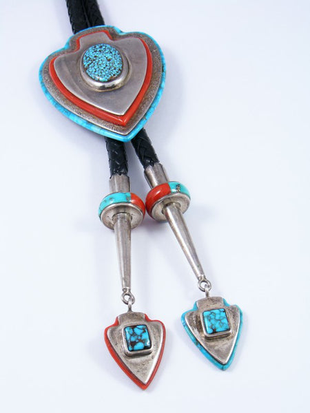 Estate Navajo Zuni Turquoise and Coral Inlay Bolo Tie