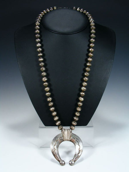 Old Pawn Navajo Sterling Silver Bead Naja Necklace