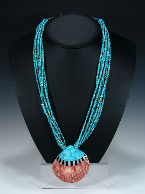 Vintage Seven Strand Turquoise Mosaic Shell Necklace