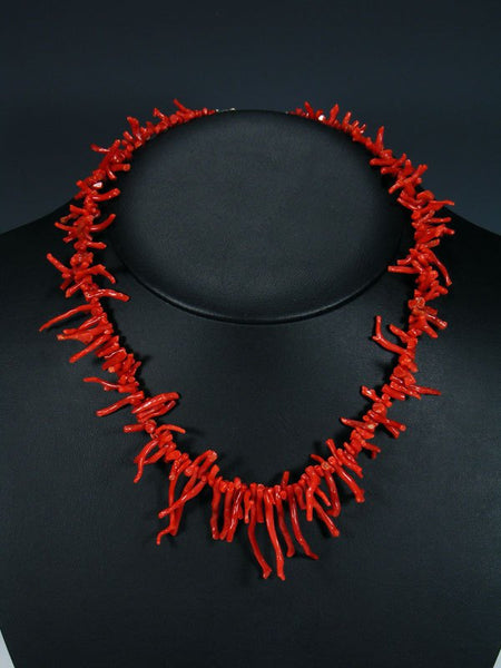 Native American Jewelry Red Branch Coral Necklace