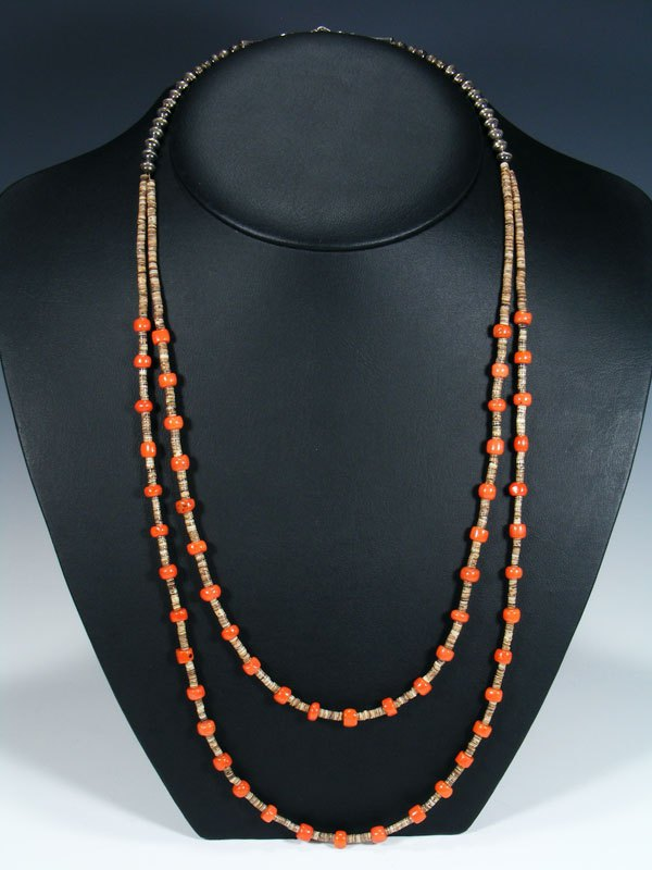 Estate Native American Santo Domingo Coral and Shell Heishi Necklace