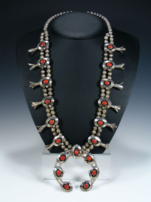 Estate Sterling Silver Coral Squash Blossom Necklace