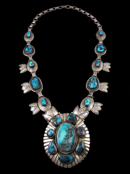 Vintage Sterling Silver Morenci and Bisbee Turquoise Necklace