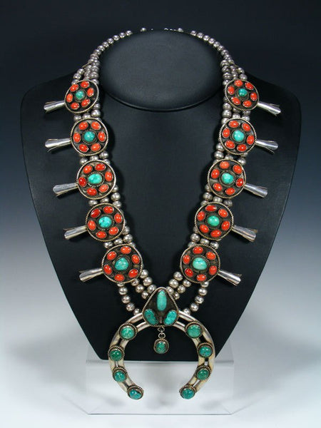 Old Turquoise and Coral Sterling Silver Squash Blossom Necklace Set