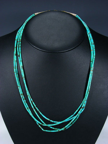 Vintage Native Jewelry Four Strand Turquoise Heishi Necklace