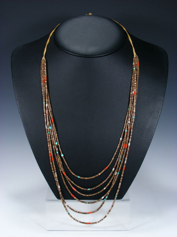 Vintage Santo Domingo Shell Heishi Six Strand Necklace