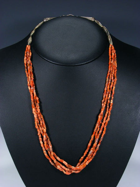 Old Indian Jewelry Four Strand Natural Coral Necklace