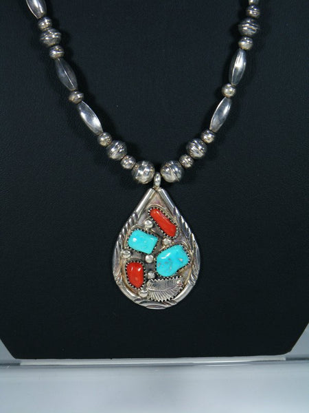 Old Pawn Sterling Silver Turquoise and Coral Zuni Necklace