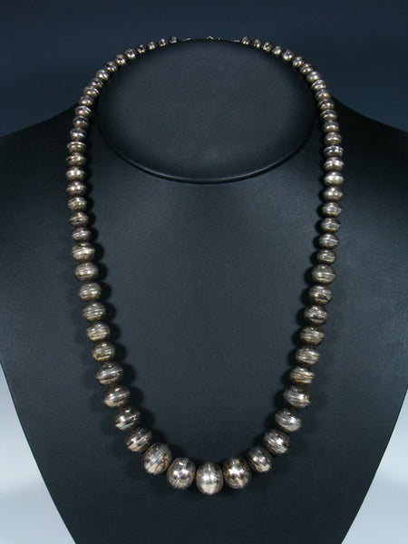 Estate Sterling Silver Graduated Bead Necklace
