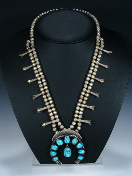 Estate Native American Turquoise Squash Blossom Necklace