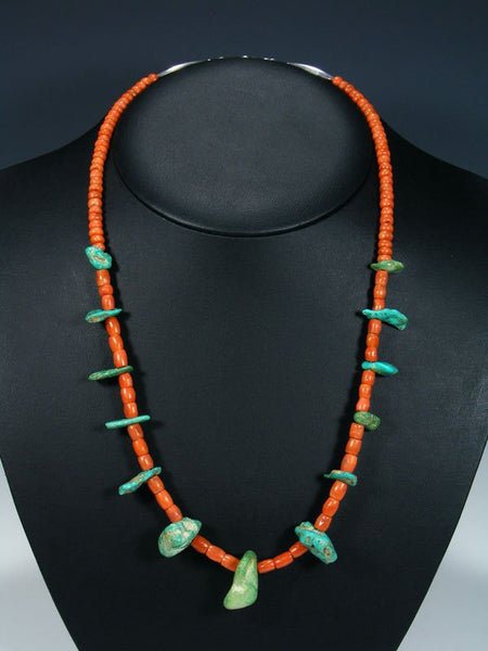 Vintage Native American Coral and Turquoise Necklace