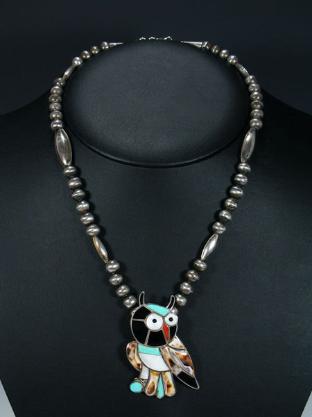 Vintage Sterling Silver Inlay Owl Zuni Necklace