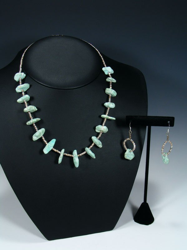 Old Native American Turquoise Nugget Necklace & Earrings Set