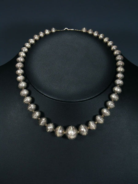 Old Native American Sterling Silver Bead Necklace
