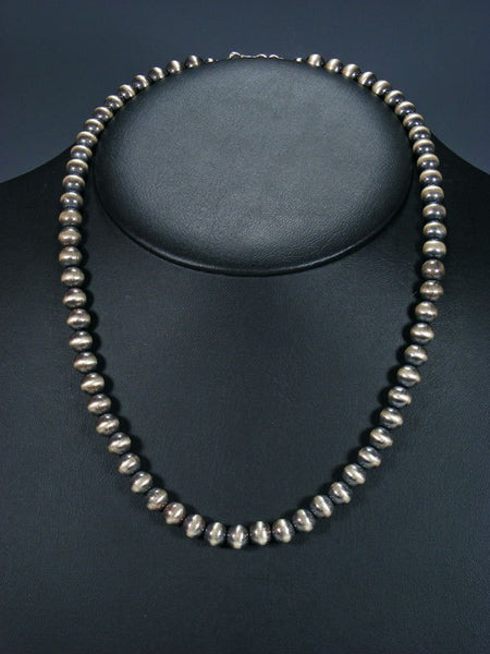 Estate Native American Sterling Silver Bead Necklace