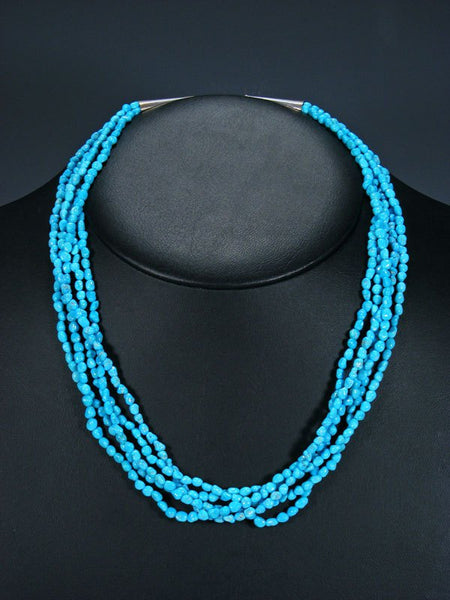 Old Indian Jewelry Five Strand Sleeping Beauty Turquoise Necklace