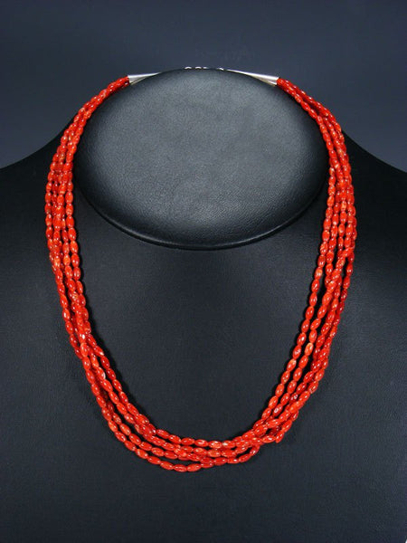 Old Indian Jewelry Five Strand Natural Coral Necklace