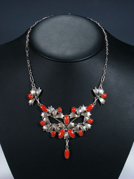 Estate Native American Sterling Silver Natural Coral Necklace