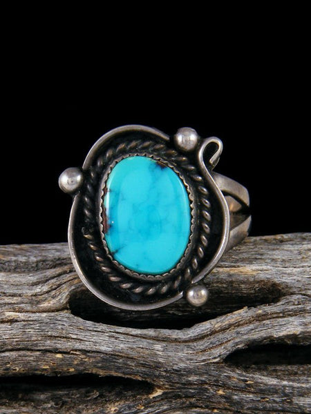 Vintage Native American Sterling Silver Turquoise Ring, Size 7