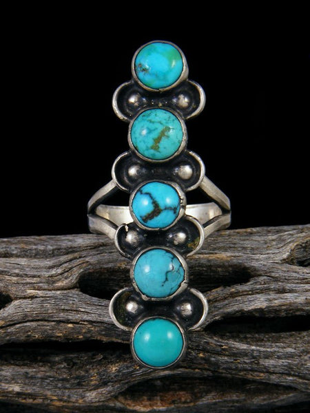 Old Native American Five Stone Turquoise Ring, Size 6 1/2