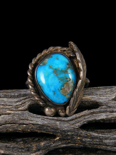 Old Native American Sterling Silver Turquoise Ring, Size 7