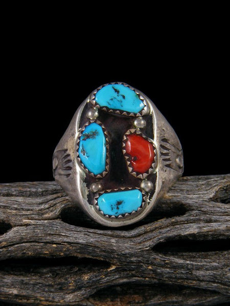Vintage Native American Turquoise and Coral Ring, Size 11