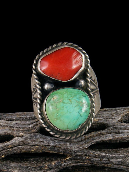 Estate Native American Turquoise and Coral Ring, Size 9 1/2