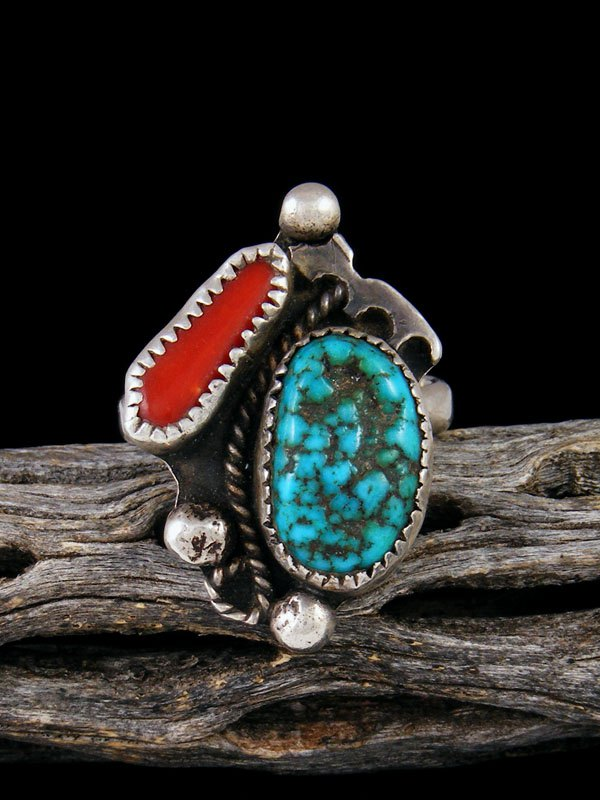 Estate Native American Turquoise and Coral Ring, Size 12 1/2