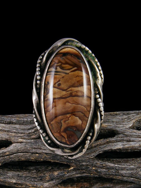Vintage Native American Sterling Silver Deschutes Jasper Ring, Size 8