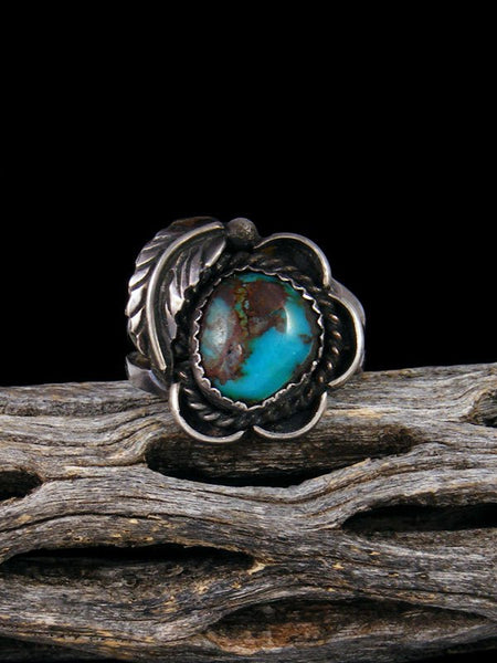 Estate Native American Bisbee Turquoise Ring, Size 9