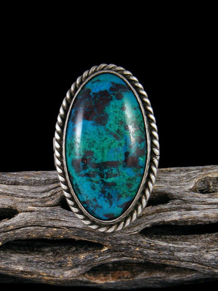 Estate Native American Sterling Silver Chrysocolla Ring, Size 10