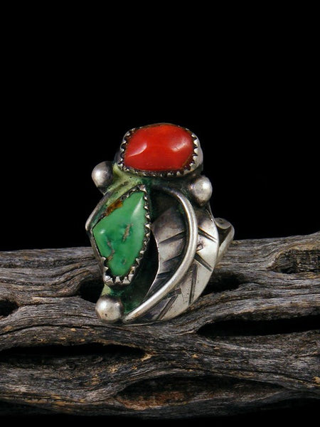 Old Native American Turquoise and Coral Ring, Size 8