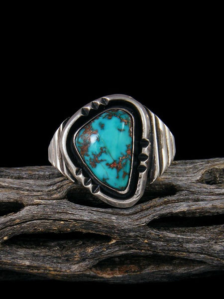 Estate Navajo Sterling Silver Turquoise Ring, Size 11.5
